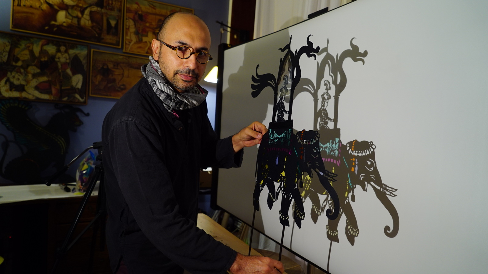 Feathers of Fire. Pictured: Hamid Rahmanian with Puppet.