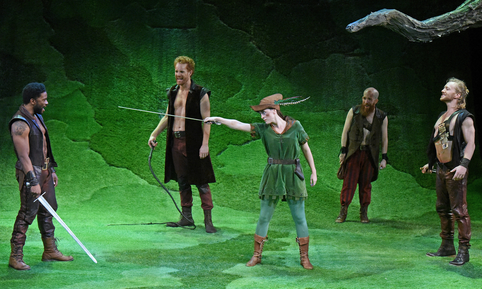 Vesturport and The Wallis' The Heart of Robin Hood. Pictured (l-r): Luke Forbes, Kasey Mahaffy, Christina Bennett Lind, Jeremy Crawford, and Sam Meader. Photo credit: Kevin Parry for The Wallis.