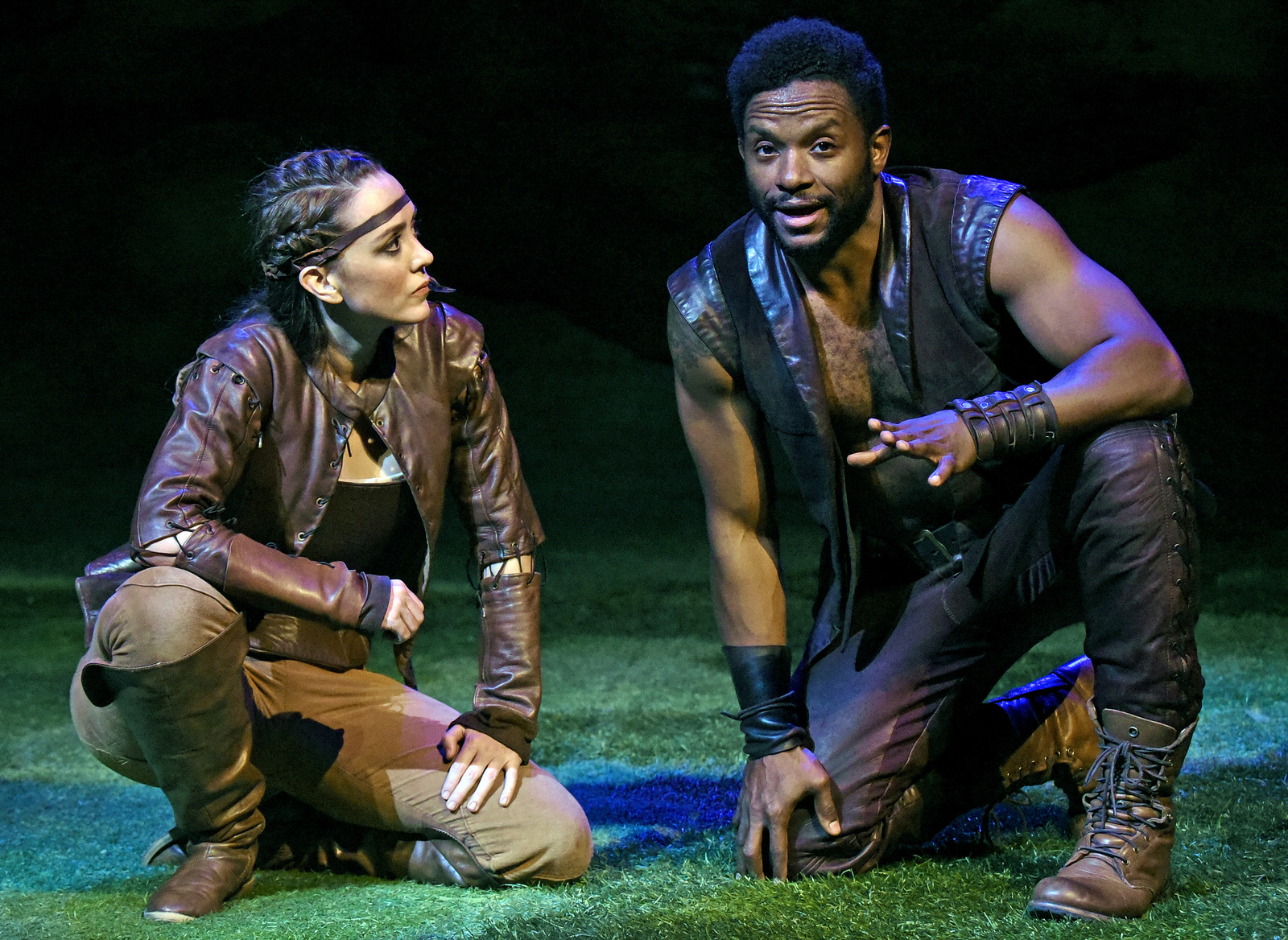 Vesturport and The Wallis' The Heart of Robin Hood. Pictured (l-r): Christina Bennett Lind and Luke Forbes. Photo credit: Kevin Parry for The Wallis.