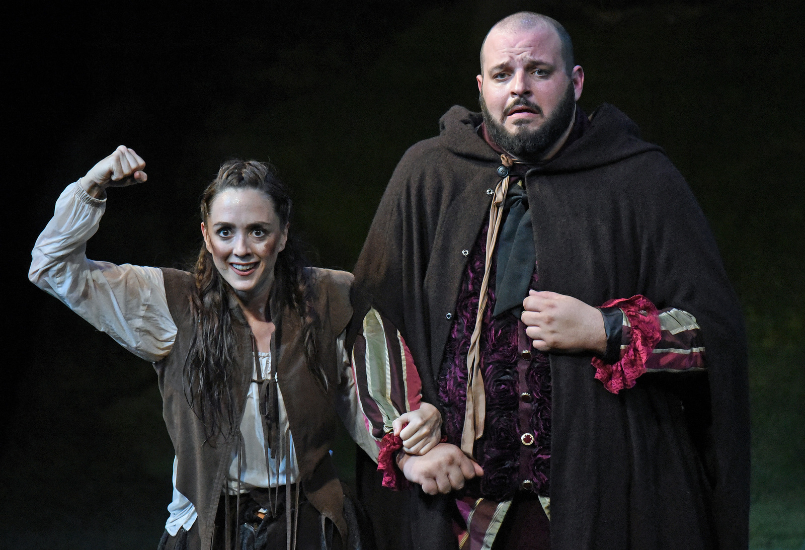Vesturport and The Wallis' The Heart of Robin Hood. Pictured (l-r): Christina Bennett Lind and Daniel Franzese. Photo credit: Kevin Parry for The Wallis.