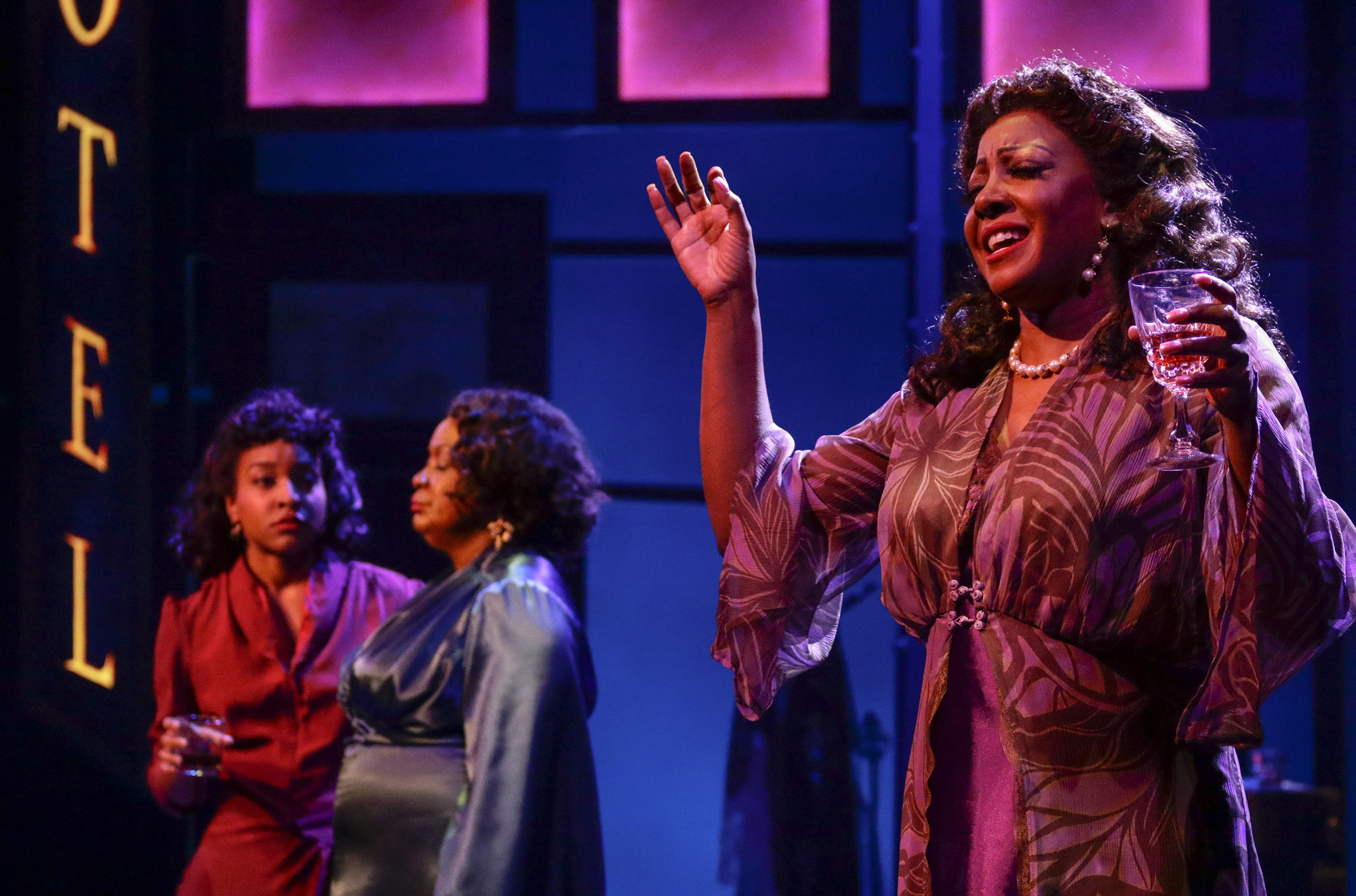Bryce Charles (The Girl With A Date), Yvette Cason (The Lady From The Road), Paulette Ivory (The Woman Of The World). BLUES IN THE NIGHT. Photo Credit: Lawrence K. Ho.