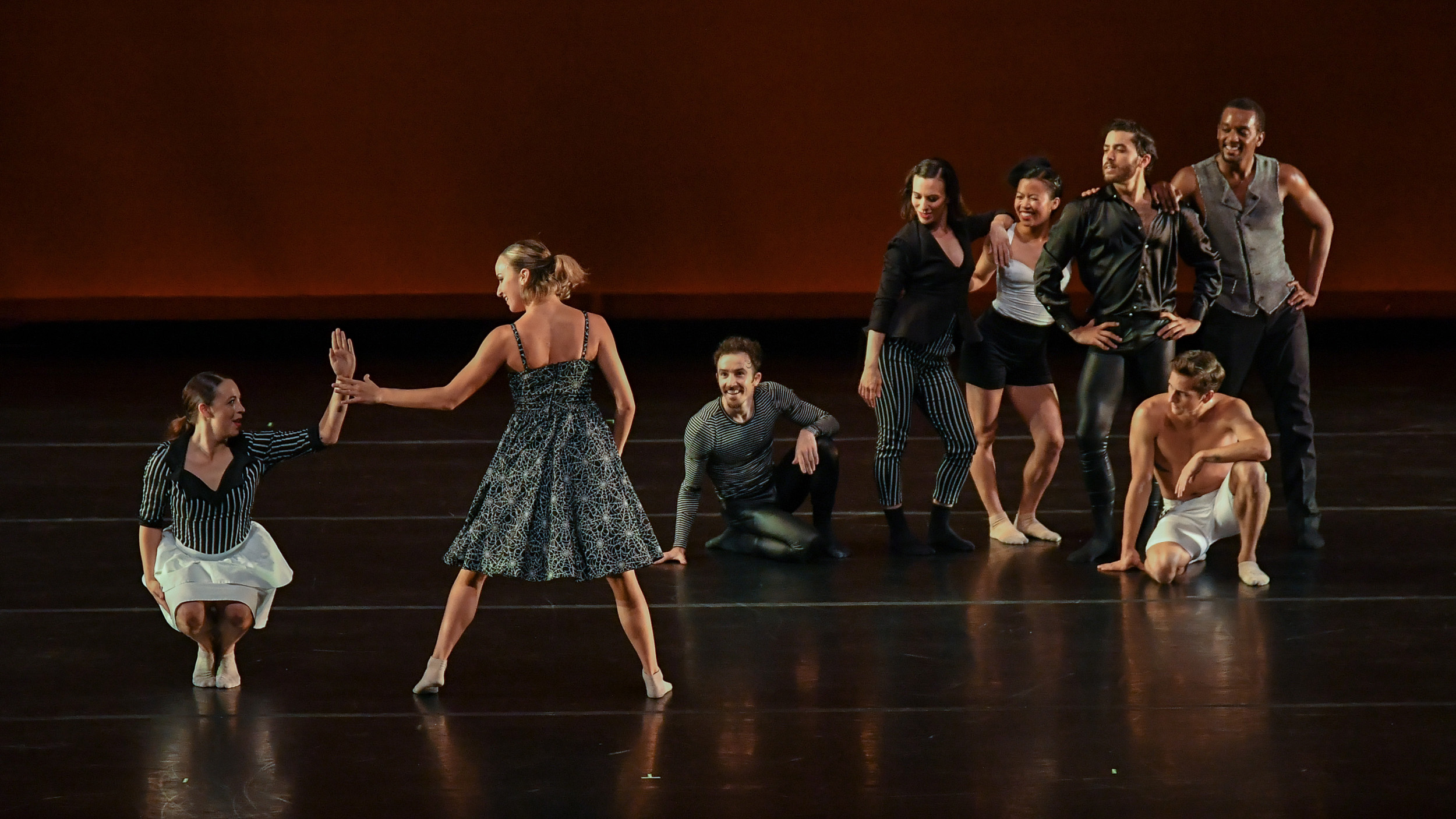 BODYTRAFFIC performing at the Wallis Annenberg Center for the Performing Arts May 31, 2018. A Million Voices (World Premiere). Choreography: Matthew Neenan. (l-r) Haley Heckethorn, Natalie Leibert, Guzmán Rosado, Tina Finkelman Berkett, Jessica Liu, Joseph Davis, Lorrin Brubaker, Jamal White. PHOTO CREDIT: Rob Latour.