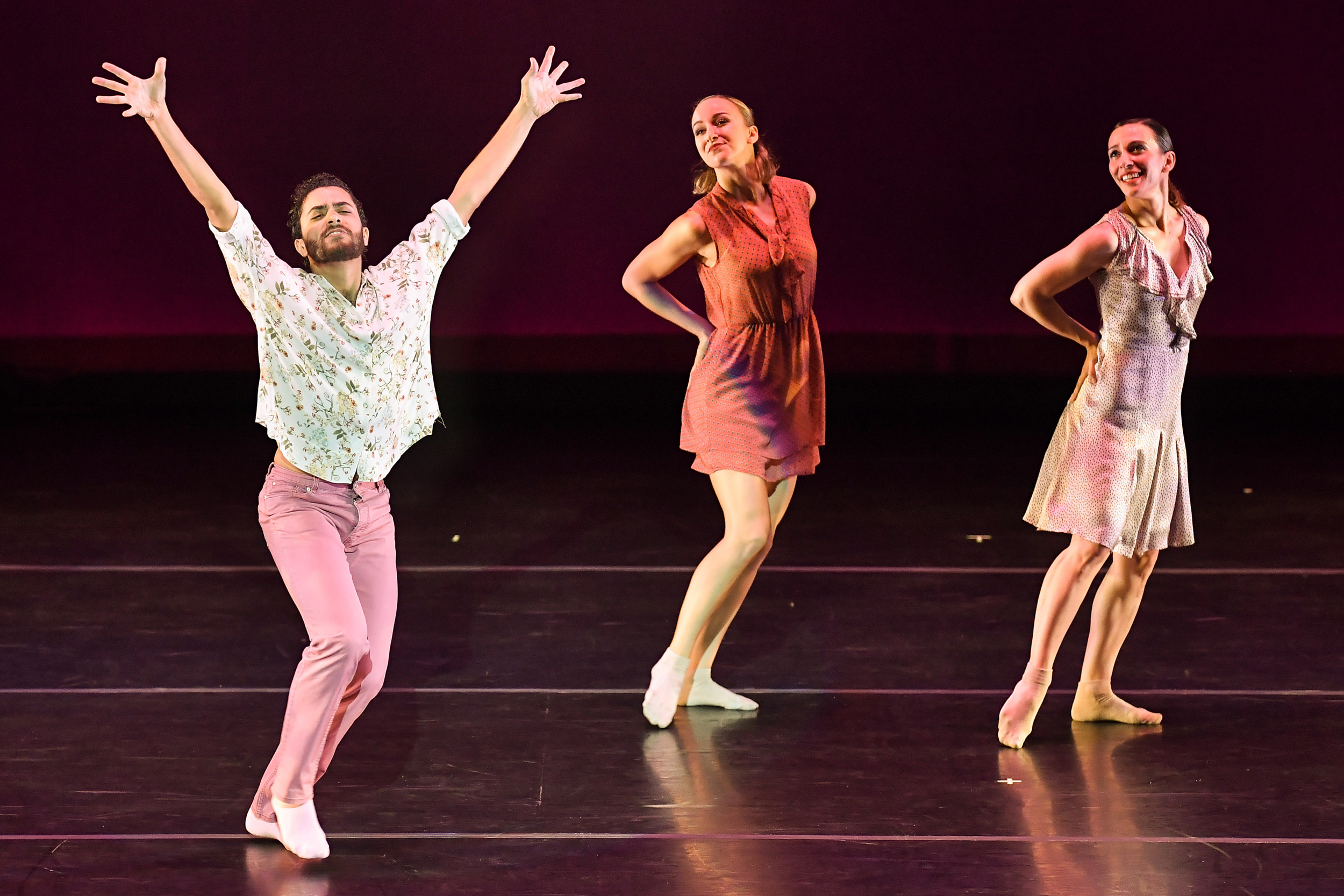 BODYTRAFFIC performing at the Wallis Annenberg Center for the Performing Arts May 31, 2018. o2Joy. Choreography: Richard Siegal. Joseph Davis, Natalie Leibert, Tina Finkelman Berkett. PHOTO CREDIT: Rob Latour.
