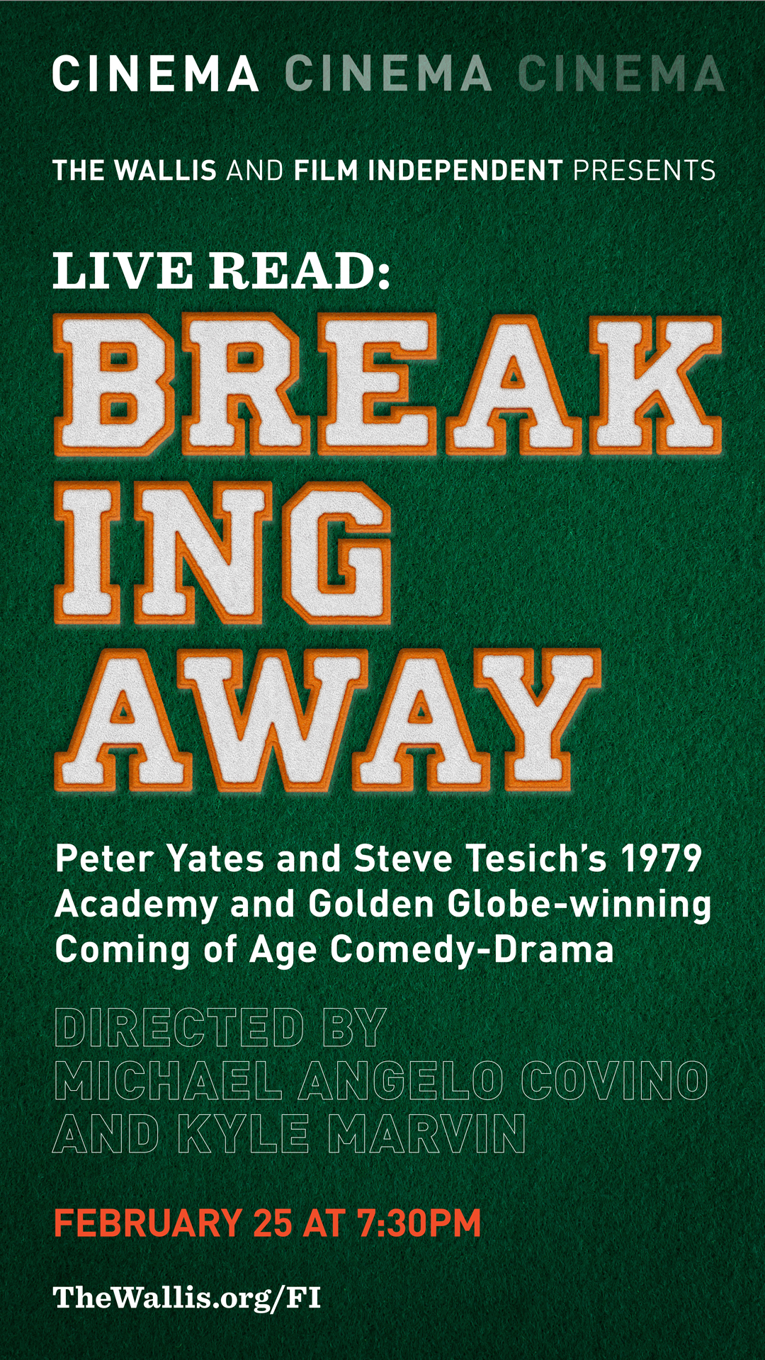 A Live Read of BREAKING AWAY